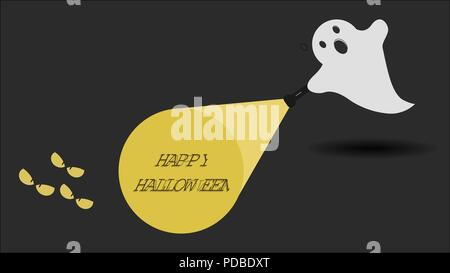 Cute ghost character just found the Happy Halloween message with his flashlight. Vector illustration. - Stock Photo