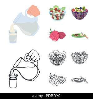 Fruit, vegetable salad and other types of food. Food set collection icons in cartoon,outline style vector symbol stock illustration . - Stock Photo