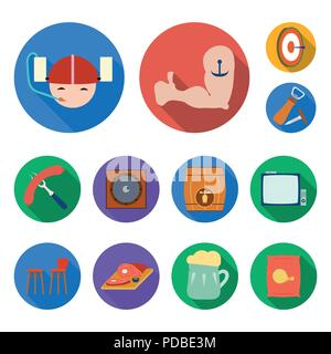 Pub, interior and equipment flat icons in set collection for design. Alcohol and food vector symbol stock  illustration. - Stock Photo