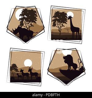 Set of wild african animals - Stock Photo