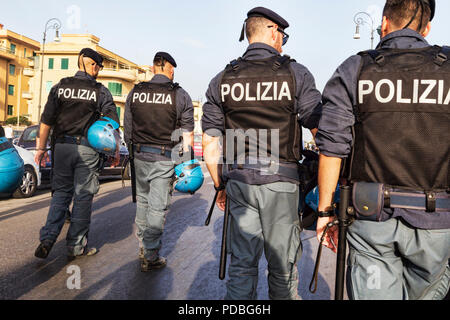 Rome,Italy - July 14, 2018:Group of police agents controls the unfolding of the Lazio Pride event.It s event for the rights, protection and pride of L - Stock Photo