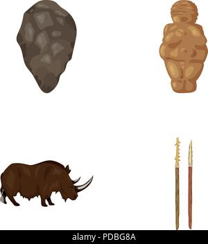 Primitive, woman, man, cattle .Stone age set collection icons in cartoon style vector symbol stock illustration . - Stock Photo