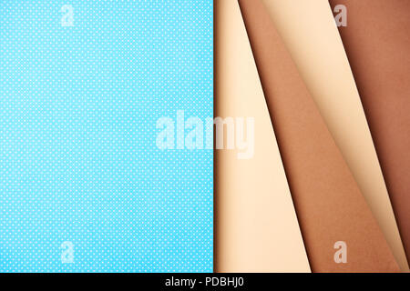 Abstract background with paper sheets in blue and brown tones - Stock Photo