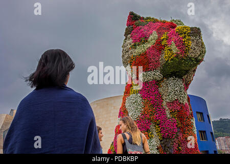 Puppy by Jeff Koons, in front of the Guggenheim Museum,  museum collection, Guggenheim Museum,  Bilbao, Spain - Stock Photo