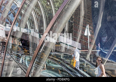 Metro entrance (aka 'fosterito') by architect Norman Foster, Abando station, Bilbao, Biscay, Basque Country, Spain - Stock Photo