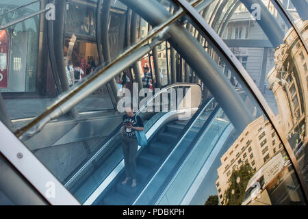 Metro entrance (aka 'fosterito') by architect Norman Foster, Moyua station, Bilbao, Biscay, Basque Country, Spain - Stock Photo