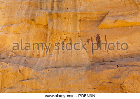 Head of Sinbad Barrier Canyon Style paintings on the San Raphael Swell, Utah - Stock Photo