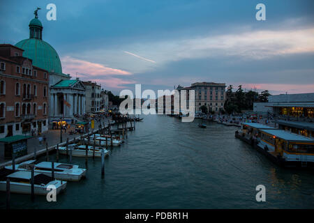 View from the Bridge - Ponte Degli Scalzi on the Grand Canal near the railway station in Venice - Stock Photo