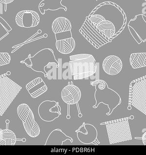 Seamless pattern with wool items. Goods for hand made, knitting or tailor shop - Stock Photo