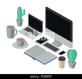 workplace elements isometrics icons - Stock Photo