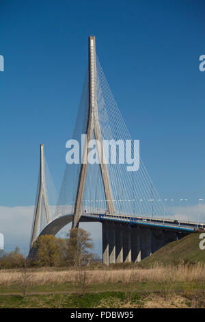 The Pont de Normandie cable stayed bridge over the Seine between Honfleur and Le Havre, Normandy, France - Stock Photo