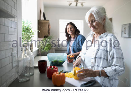 Smiling daughter and senior mother cooking, cutting vegetables in kitchen - Stock Photo