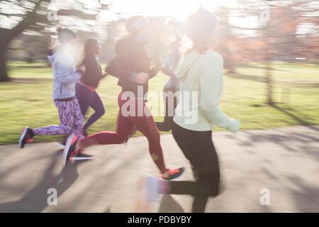 Female runners running in sunny park - Stock Photo