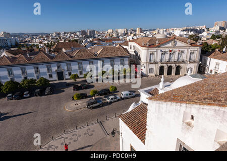Faro view from the Cathedral of Faro roof, Sé, Faro, Algarve, Portugal - Stock Photo
