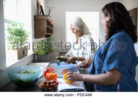 Daughter and senior mother cooking, cutting vegetables in kitchen - Stock Photo