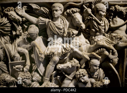 Great Ludovisi Sarcophagus. Roman. 250 AD. Detail of the relief depicting the battle between Romans and Goths. The central figure has been identified with Hostilian, son of emperor Decius. Proconnesian marble. Altemps Palace. Rome, Italy. - Stock Photo