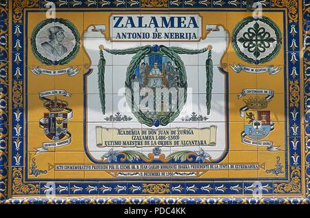 Antonio de Nebrija (1441-1522). Spanish Renaissance humanist. Ceramic panel dedicated to Nebrija on the occasion of the fifth centenary of the first Spanish grammar, 1992. Facade of the Town Hall. Zalamea de la Serena, province of Badajoz, Extremadura, Spain. - Stock Photo