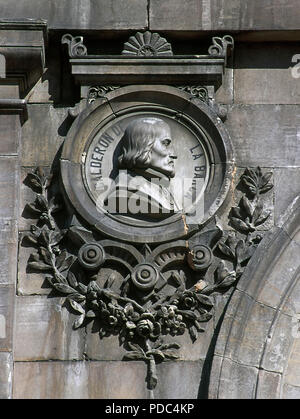 Pedro Calderon de la Barca (Madrid, 1600-1681). Spanish poet, dramatist and writer of the Spanish Golden Age. Relief on a medallion. Facade of the National Library, detail. Madrid, Spain. - Stock Photo