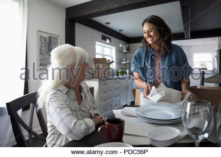 Smiling daughter helping senior mother downsize, packing dishes - Stock Photo