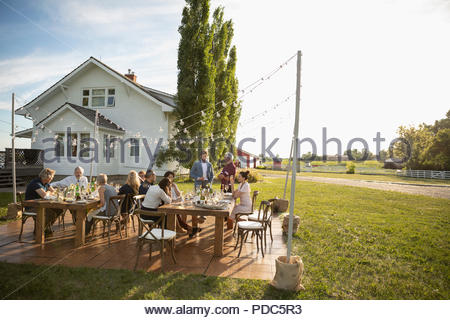 Friends drinking and talking at sunny, rural garden party - Stock Photo
