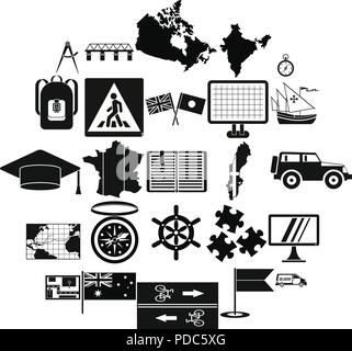 Map icons set, simple style - Stock Photo