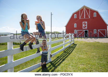 Brother and sisters eating watermelon on sunny rural farm fence - Stock Photo