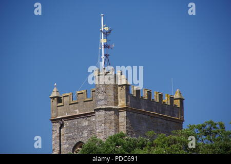 Sidmouth Parish Church, St Giles and St Nicholas, Tower against a Blue Sky. East Devon, UK. - Stock Photo