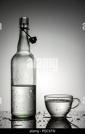 A studio photo of water in a glass next to a glass water bottle. - Stock Photo