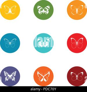 Cutworm icons set, flat style - Stock Photo