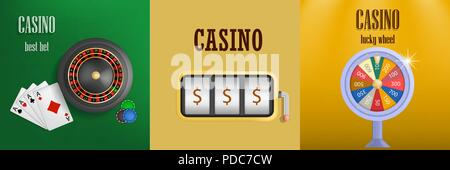 Roulette wheel game banner set, realistic style - Stock Photo
