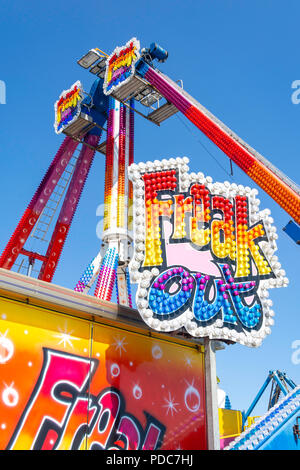 Freak Out ride at Ocean Beach Pleasure Park, Middle Arcade, Sea Road, South Shields, Tyne and Wear, England, United Kingdom - Stock Photo