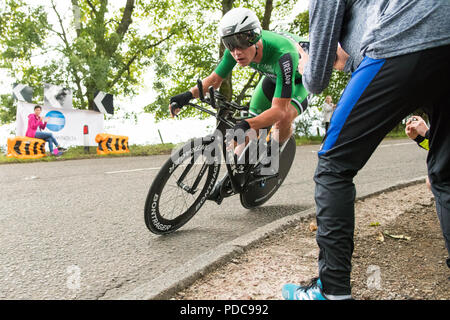 Strathblane, Glasgow, Scotland, UK - 8 August 2018: European Championships mens cycling time trial - Ryan Mullen of Ireland speeding through Strathblane Credit: Kay Roxby/Alamy Live News - Stock Photo