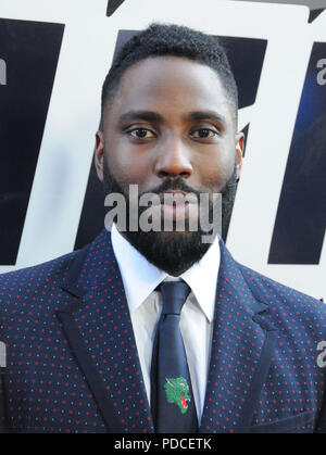 BEVERLY HILLS, CA - AUGUST 8: Actor John David Washington attends the Los Angeles Premiere of Focus Features' 'BlacKkKlansman' on August 8, 2018 at The Academy's Samuel Goldwyn Theater in Beverly Hills, California. Photo by Barry King/Alamy Live News - Stock Photo
