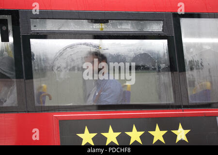 London,UK,9th August 2018,Typical British wet weather resumes in London. Condensation forms on the window of a London bus. The forecast is for rain for the rest of the day. Credit Keith Larby/Alamy Live News - Stock Photo