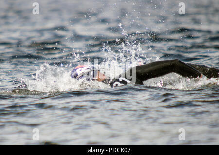 Loch Lomond, Scotland, UK. 9th August, 2018. France's Lara Grangeon (31) competes in the women's 10-km race final, during Day 8 of the Glasgow 2018 European Championships, at Loch Lomond and The Trossachs National Park. Credit: Iain McGuinness/Alamy Live News - Stock Photo