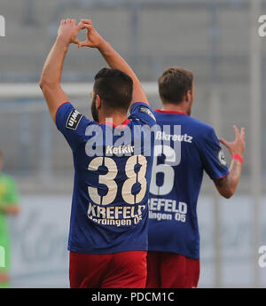 Duisburg, Germany. 08th Aug, 2018. Duisburg, Germany August 8 2018, 3rd league matchday 3, KFC Uerdingen 05 vs SV Meppen: Oguzhan Kefkir (KFC) Jubilation. Credit: Juergen Schwarz/Alamy Live News - Stock Photo