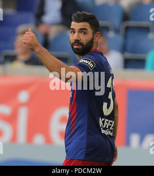 Duisburg, Germany. 08th Aug, 2018. Duisburg, Germany August 8 2018, 3rd league matchday 3, KFC Uerdingen 05 vs SV Meppen: Oguzhan Kefkir (KFC) gestures. Credit: Juergen Schwarz/Alamy Live News - Stock Photo