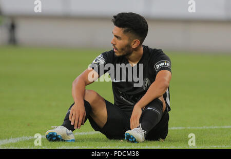 Duisburg, Germany. 08th Aug, 2018. Duisburg, Germany August 8 2018, 3rd league matchday 3, KFC Uerdingen 05 vs SV Meppen: Hassan Amin (SVM) niedergeschlagen. Credit: Juergen Schwarz/Alamy Live News - Stock Photo