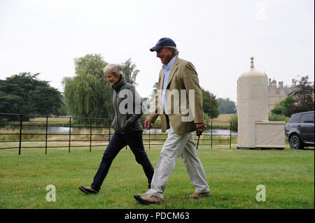 Stamford, Lincolnshire, UK. 9th August, 2018. 9th August 2018. Captain Mark Phillips and Elizabeth Inman discuss the course during the 2018 Land Rover Burghley Horse Trials Media Preview Day, Stamford, United Kingdom. Jonathan Clarke/Alamy Live News - Stock Photo