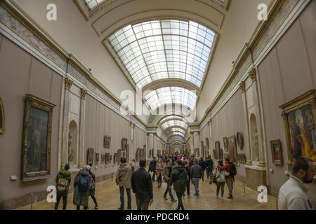 The Grande Galerie, Louvre museum, Paris, France - Stock Photo