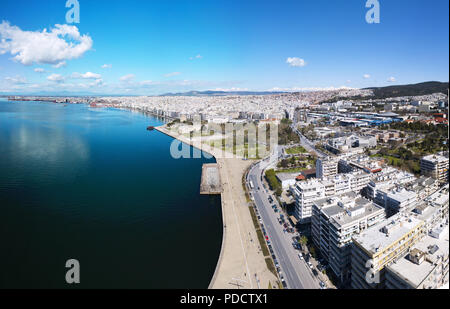panorama of Thessaloniki sea front - Stock Photo