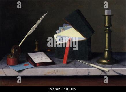 Secretary's Table, Harnett, William M., 1879. - Stock Photo