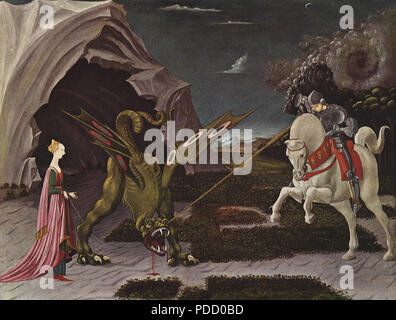 St. George and The Dragon 1455, Uccello, Paolo, . - Stock Photo