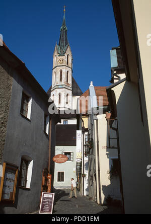 View of the Round Tower of St Vitus Church  in Cesky Krumlov in Bohemia in the Czech Republic - Stock Photo
