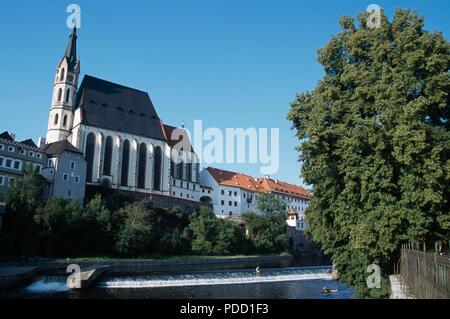 St Vitus Church in Cesky Krumlov in Bohemia in the Czech Republic - Stock Photo