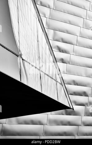 Black and white modern architecture urban background.
