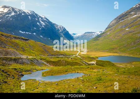 Beautifull road landscape of Norway countryside, Scandinavia - Stock Photo
