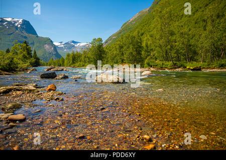 Beautiful mountain river near Trollstigen in Norway - Stock Photo