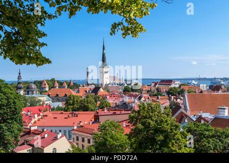 Tallinn, Estonia. View over the Old Town (Vanalinn) from the Kohtuotsa Vaatplats (Court Square Lookout), Tallinn, Estonia - Stock Photo