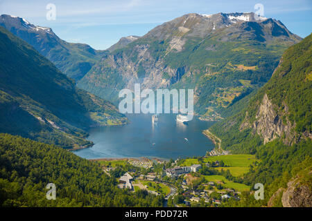 Geiranger fjord from mountain viewpoint, Norway - Stock Photo
